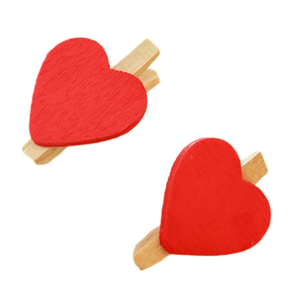 10PCS wood-clips mollette mini Heart pioli per calzini o memo Paper DIY creative photo clip Gespout