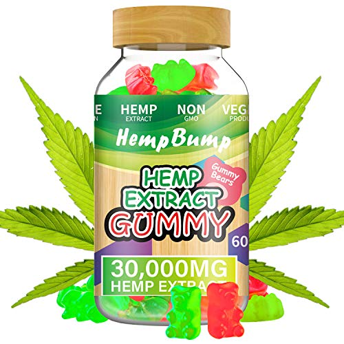 Hemp Gummies, HempBump 30000MG Fruity Gummy Bear 100% Natural for Pain and Anxiety Relief, Reduce Stress, Sleep Better, Made in USA