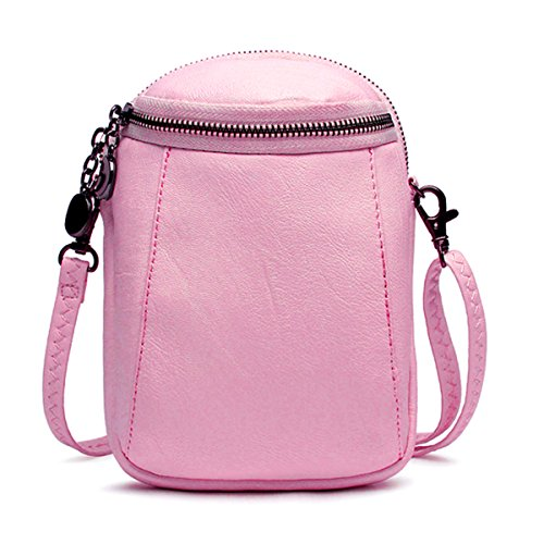 JOSEKO Crossbody Bag for Women, PU Leather Round Little Phone Bag Casual Bucket Bag Vintage Travel Bag for Women Girls Ladies Pink 5.12 inch(L) x 2.36 inch(W) x 7.48 inch(H) by JOSEKO