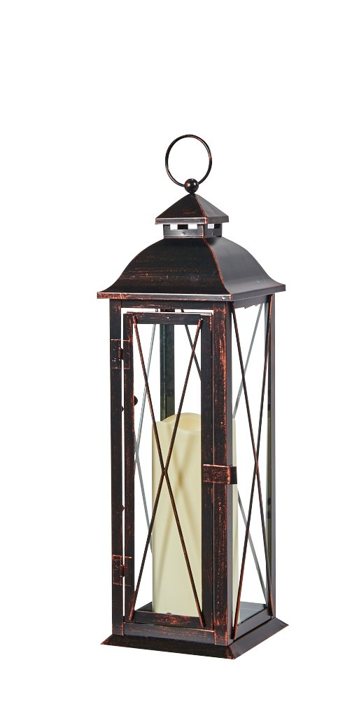 Smart Design STI84036LC Siena Metal Lantern with LED Candle, 16-Inch Tall, Antique Brown Finish, Includes Realistic Candle Powered By One Amber LED, Suitable For Both Indoor And Outdoor Use by Smart Living