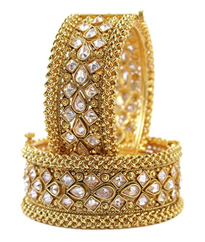 MUCH-MORE Gorgeous Bollywood Style Gold Tone Indian Polki Bangles Traditional Jewellry For Women (239, 2.4)