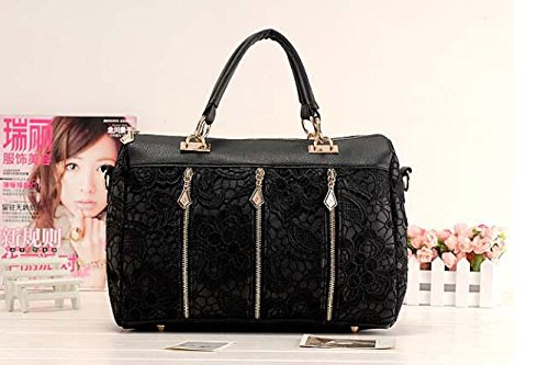 JOVANAS FASHION Ladies Retro Vintage Lace Flower Tote Handbags Shoulder Bag Purse (Black)