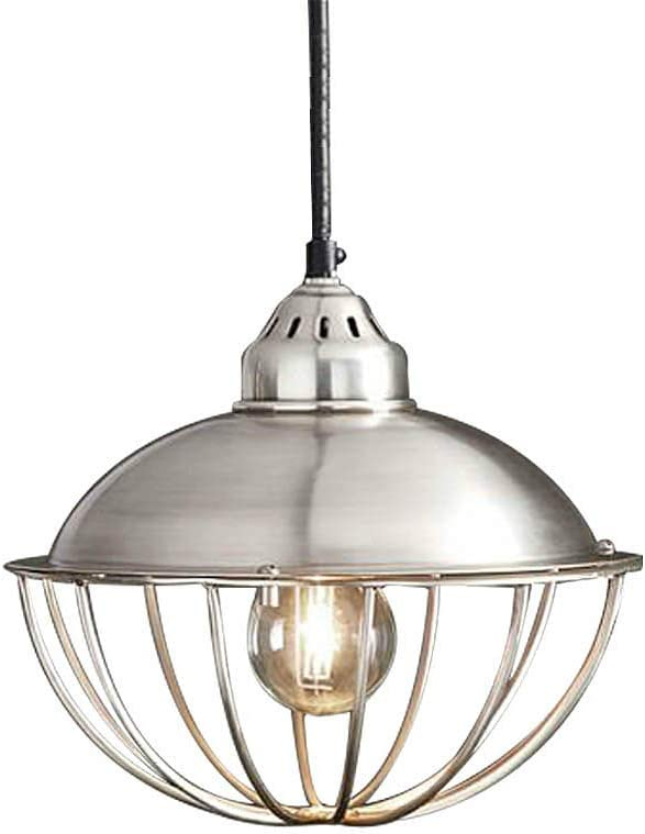 SUSUO 10 W Brushed Nickel Dome Ceiling Pendant Light with Iron Wire Cage,Simplicity Ceiling Hanging Lighting for Kitchen Island Bedroom Bar Counter Pool Table