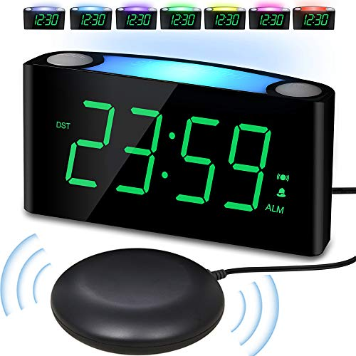 (Alarm Clock with Bed Shaker, Large Numbers Digital Display with Dimmer, Night Light, USB Charger, Snooze, Loud Sound&Powerful Vibrating Bedroom Clock for Heavy Sleeper Hearing Impaired Deaf Senior Kid)