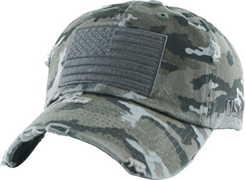 KBVT-209 BLK-CAM Tactical Operator with USA Flag Patch US Army Military Baseball Cap  (Adjustable, (209) Black Camo) ()