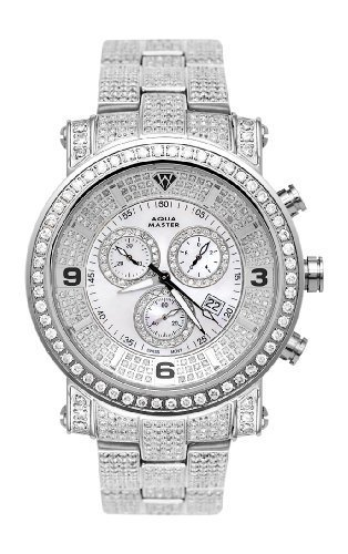 NEW! Aqua Master Men's Power One-Row Diamond Watch with Diamond Dial, 11.60 ctw by Aqua Master
