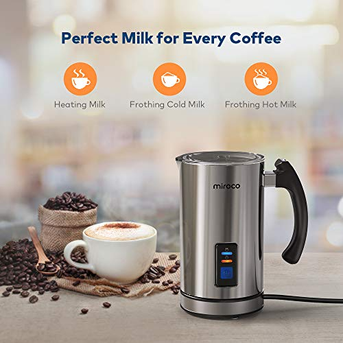 Miroco Milk Frother, Electric Milk Steamer Stainless Steel, Automatic Hot and Cold Milk Frother Warmer for Latte, Foam Maker for Coffee, Hot Chocolates, Cappuccino, Heater with Strix Control, 120V