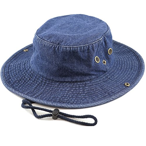 THE HAT DEPOT 300N1510 Wide Brim Foldable Double-Sided Outdoor Boonie Bucket Hat (S/M, Dk.Denim)