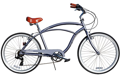 """Fito Men's Marina Aluminum Alloy 7-Speed Beach Cruiser Bike, Grey, 18"""" x 26""""/One Size"""