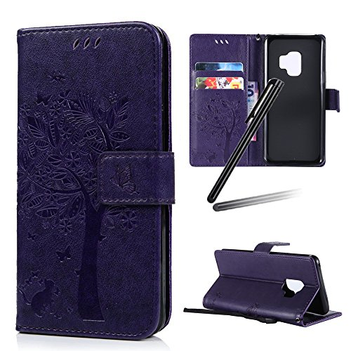 Galaxy S9 Stand Case,SKYMARS Embossed PU Leather Flip Kickstand Wallet Magnetic Closure Shockproof Case for Samsung Galaxy S9 2018 Tree Dark - Dark Case Purple