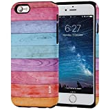 wood back iphone 6 - iPhone 6S Case, SKINU Wood Pattern [Shockproof 2 in 1 Hybrid] Rugged [Heavy Duty Combo] [Dual Layer] High Impact Durable Back Case Cover For iPhone 6 (2014) / 6s (2015) - Rainbow Wood