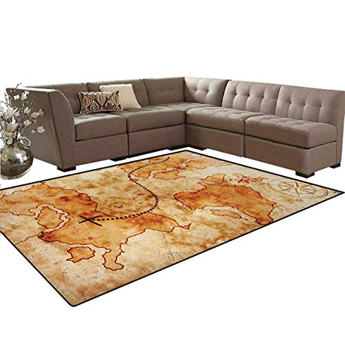 Island Map,Rug,Authentic Distressed Grunge World Map Wind Rose Compass Pattern Treasure Map Picture,Perfect for Any Room Floor Carpet,Cream,6'6