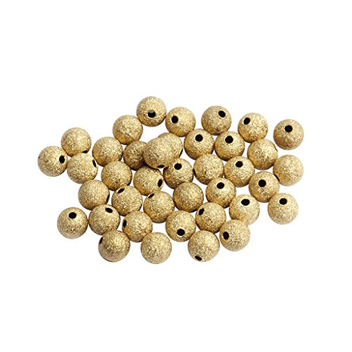 SM SunniMix Round Brass Loose Spacer Bead Charms for Jewelry Pendant Making, Hair Accessory DIY, Sewing Crafts - 8mm 50pcs