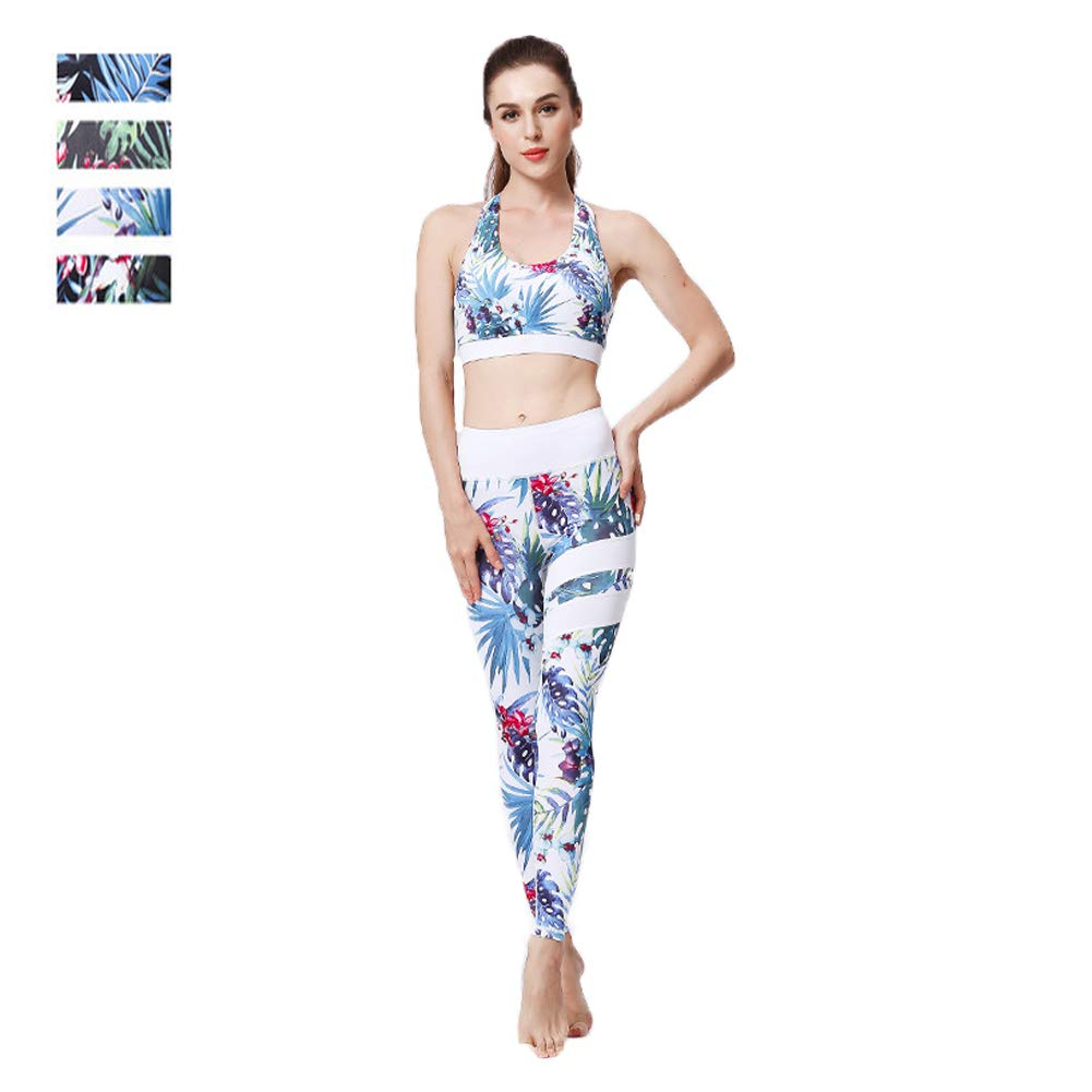 A Yoga Clothing Female Fitness TwoPiece Printing QuickDrying Sports Bra Tights High Waist Flexible Sports Fitness