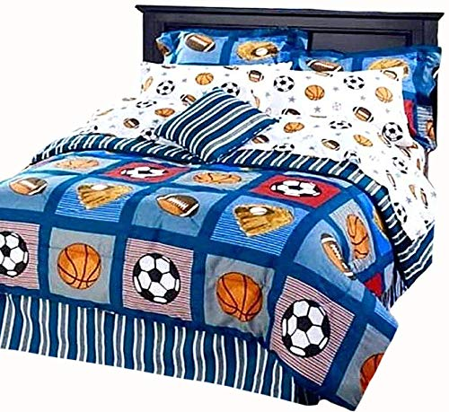 (BOYS SPORTS PATCH Football Basketball Soccer Balls Baseball Blue REVERSIBLE Comforter Set (QUEEN SIZE 8pc Bed In A Bag))
