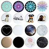 16 Swappable Covers Compatible with Original PopSockets - Put a Different Design On Your Pop Socket in 12 Seconds (PopSocket Sold Separately) Removable Replacement Pack of 16 Tops, Caps, Disc Only