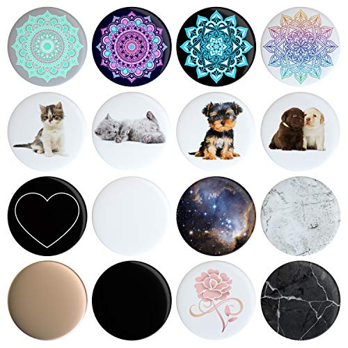 16 Swappable Covers Compatible with Original PopSockets (PopSocket Sold Separately) Put a Different Design On Your Pop Socket in 12 Seconds Removable Replacement Pack of 16 Tops, Caps, Disc Only from ProHelix