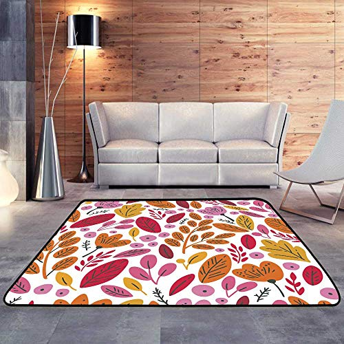 Kids Rugs with Autumn Leaves and flowersW 71