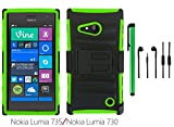 Nokia Lumia 735 / Nokia Lumia 730 Phone Case - Premium Hybrid Heavy Duty Cover Protector Case with Belt Clip Holster Kickstand + 3.5MM Stereo Earphones + 1 of New Metal Stylus Touch Screen Pen (GREEN / BLACK)