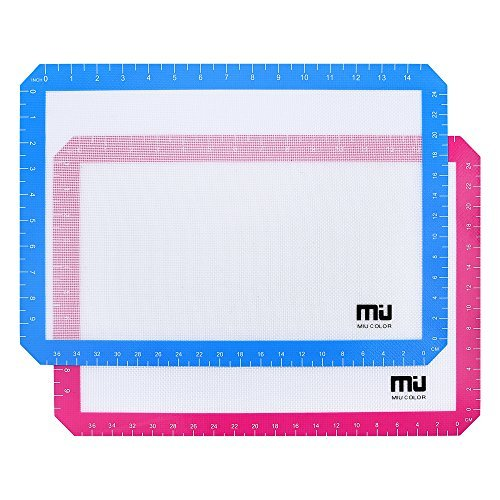 Silicone Baking Mat, Non Stick Silicone Liner for Cookie Sheets, Professional FDA Approved Cooking Mat, 16.5x11.5 Inches, 2 pack, MIU COLOR
