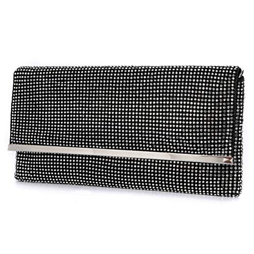 TanpellWomen's Bling Soft Rhinestone Crystal Evening Clutch Bags with Detachable Chain ()