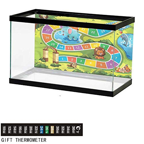 """bybyhome Fish Tank Backdrop Kids Activity,Picnic in Forest,Aquarium Background,36"""" L X 16"""" H(91x41cm) Thermometer Sticker"""