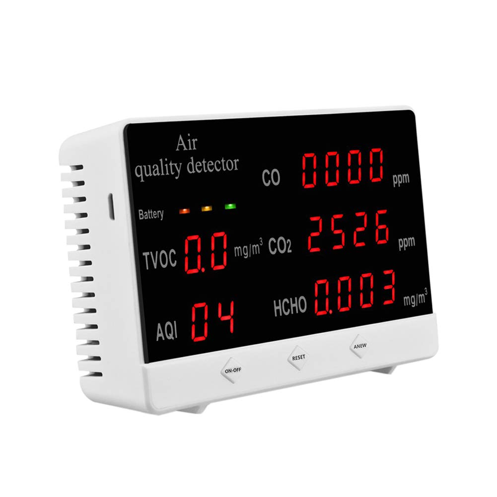 AOUSTHOP Indoor Air Quality Sensor,Air Quality Monitor,Accurate Tester Kit for Home Office CO2 HCHO TVOC PM2.5/10 Multifunctional Gas Detector Real Time Data Mean Value Recording
