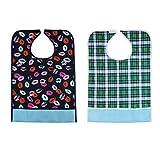 Homyl 2pcs Reusable Adult Bib Clothing Protector Waterproof Crumb Catcher Washable Men Women Patient Apron Eating Aid - 05
