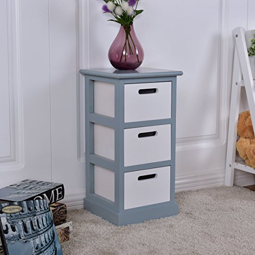 Casart 3 Drawer Bedside Cabinet Wooden Chest Table Storage End Table Bedroom Furniture