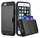 iPhone 8 iPhone 7 Case,Zhixin Creative Heavy Duty Hybrid Dual Layer Brushed Texture Slim Lightweight Shockproof Back Case with Card Slot Kickstand for iPhone 8 iPhone 7(Black)