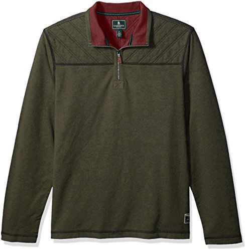 D&g Mens Clothing (G.H. Bass & Co. Men's Quilted 1/2 Zip Fleece, Forest Night Heather, Large)