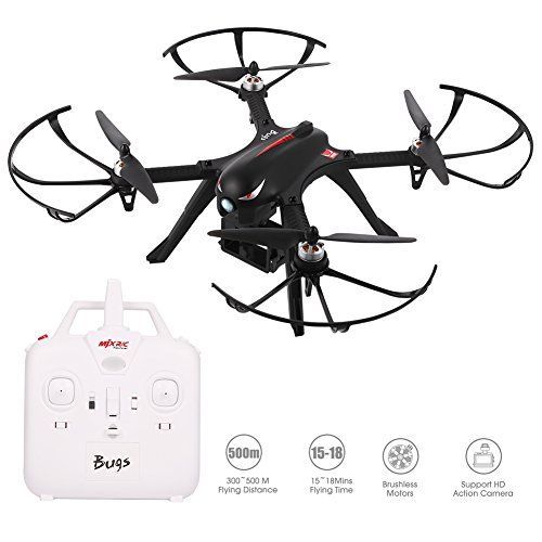 Upgrade MJX Bugs 3 Brushless Drone, 15 Min Flying Time, 400yd Control Distance with Camera Mounts for Wimius Sony Apeman Gopro Action Camera