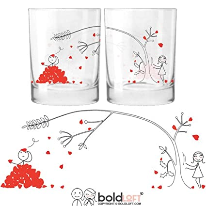 BOLDLOFT Love You Madly His and Hers Drinking Glasses- Matching Couple Stuff, Valentines Gifts for Boyfriend for Husband, Couples Gifts for Him and Her, Boyfriend Gifts, Relationship Gifts for Him