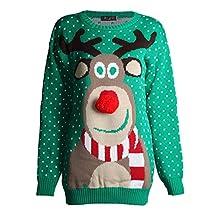 Forever Womens Unisex Rudolph Print 3D Nose Pom Pom Christmas Jumper