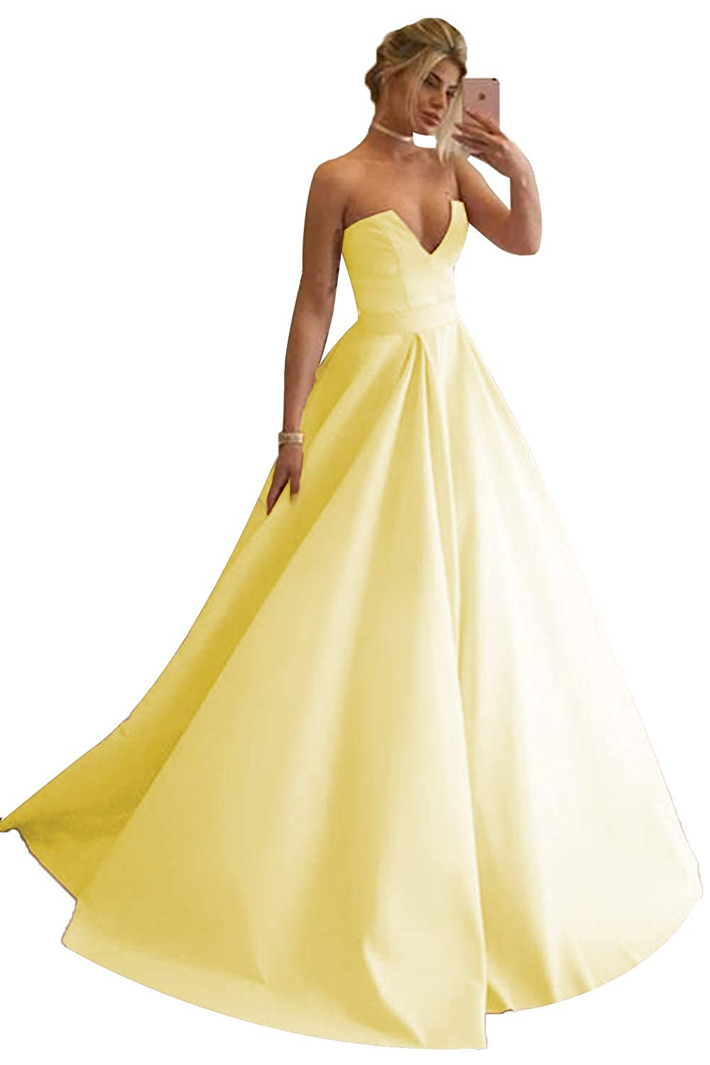 Yellow Promworld Women's Strapless Sexy V Neck Prom Dress A Line Evening Gowns Formal Dress Long