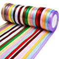 Livder 20 Colors 500 Yard Fabric Ribbon Silk Satin Roll, Embellish Ribbons for Bows Crafts Gifts Party Wedding, 2/5 Inch Width, 20 Rolls