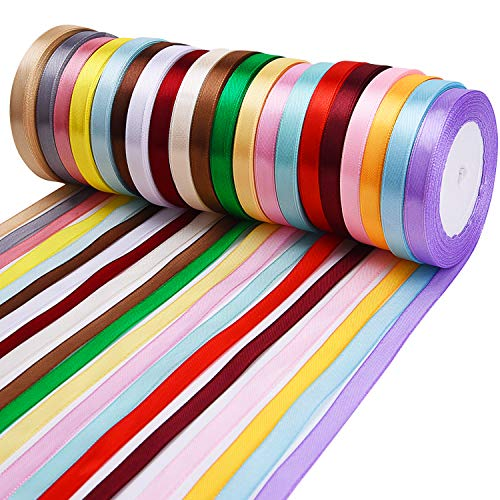 Livder 20 Colors 500 Yard Fabric Ribbon Silk Satin Roll, Embellish Ribbons for Bows Crafts Gifts Party Wedding, 2/5 Inch Width, 20 Rolls ()