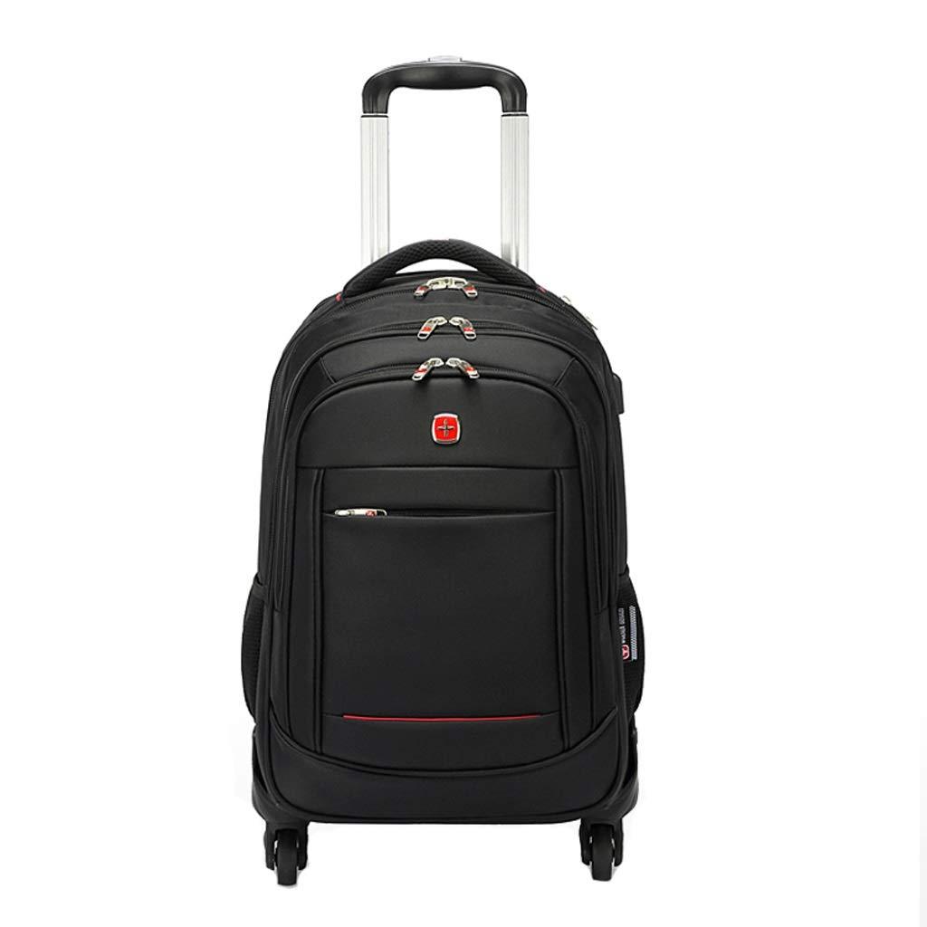 15.6インチ盗難防止の防水ラップトップの荷物のトロリー袋、キャンパススクールのバックパッキングに適した車輪と男女兼用 (色 : 黒, サイズ さいず : 48*34*22cm) B07PPVBXWG ブラック 48*34*22cm