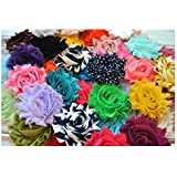"YYCRAFT 30 pieces Shabby Flowers - Chiffon Fabric Roses - 2.5"" - Solids and Prints Included - Assorted Color Mix"