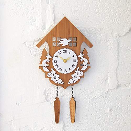 Wall Decoration Clock Table Rustic Garden Bamboo Forest Log House Animal Cuckoo Bird Wall Clock Cuckoo Clock Fox