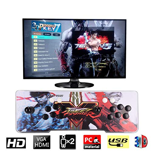 Street Fighter Arcade - [2177 HD Retro Games] 3D Pandora's Key 7 Arcade Video Game Console 1920x1080 Full HD 2 Players Arcade Machine Support TF Card to Add More Games for PC / Laptop / TV / PS Controller (Street Fighter V)