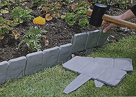 Desconocido 8 Unidades (2 Metros) Color Gris Oscuro con Efecto de Piedra para jardín y césped, Borde de Planta – Simplemente Martillo en: Amazon.es: Jardín