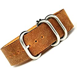time+ 20mm 5-ring NATO ZULU Leather Military Watch Strap Vintage Brown