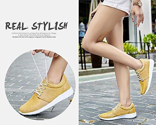 Zapatillas de deporte de un solo color de la manera de las señoras / de las muchachas verano y otoño Zapatos ocasionales de los deportes respirables y ligeros Yellow