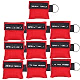 Pack of 10pcs (Red Color Only, Pictures Issue in Processing) CPR Face Shield Mask Keychain Keying Emergency Kit LSIKA-Z CPR Face Shields Pocket Mask for First Aid or CPR Training (Red-10)