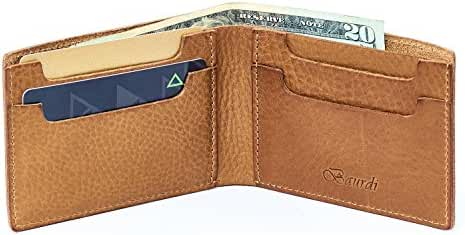 Baurdi Admiral The Best Traditional Bifold Wallet for Men - Full Featured Billfold - 100% Full Grain Brown Italian Leather