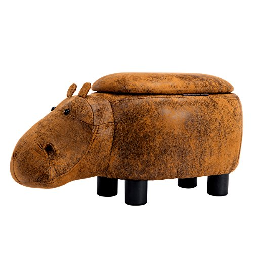 Guteen Upholstered Ride-on Toy Seat Storage Ottoman Footrest Stool with Vivid Adorable Animal-Like Features(Brown Hippo) by GUTEEN