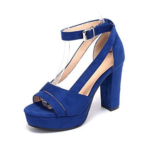 AllhqFashion Mujeres Cuero Puntera Abierta Tacón ancho Hebilla Sólido Sandalia Azul