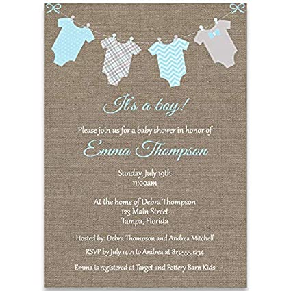 Blue Boys Clothes Personalised Baby Shower Invitations