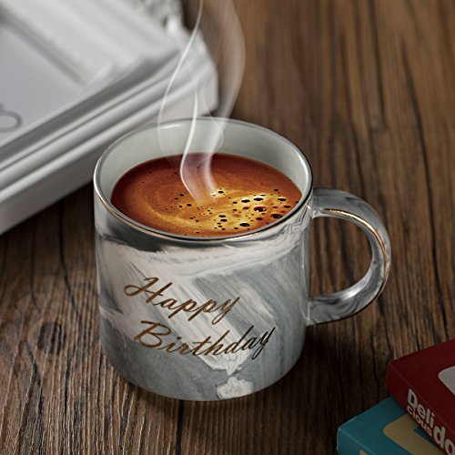 Ylyycc Happy Birthday Ceramic Coffee Mugs - Birthday Present for Son, Daughter, Mom and Dad Teacher Friends - Marble Cups 11.5 oz(Happy Birthday-Gray)